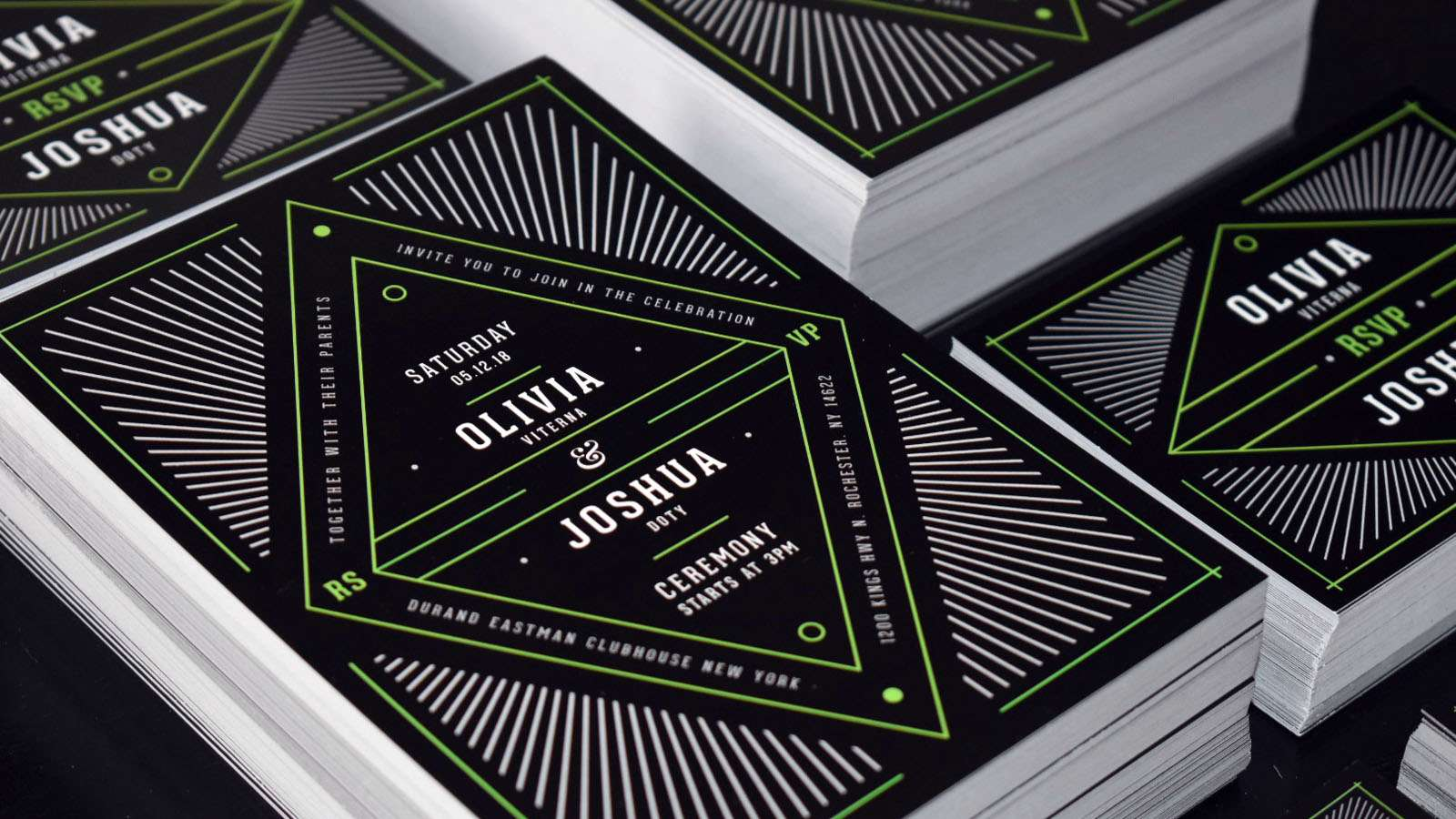 Invitation design for a wedding using black and green.