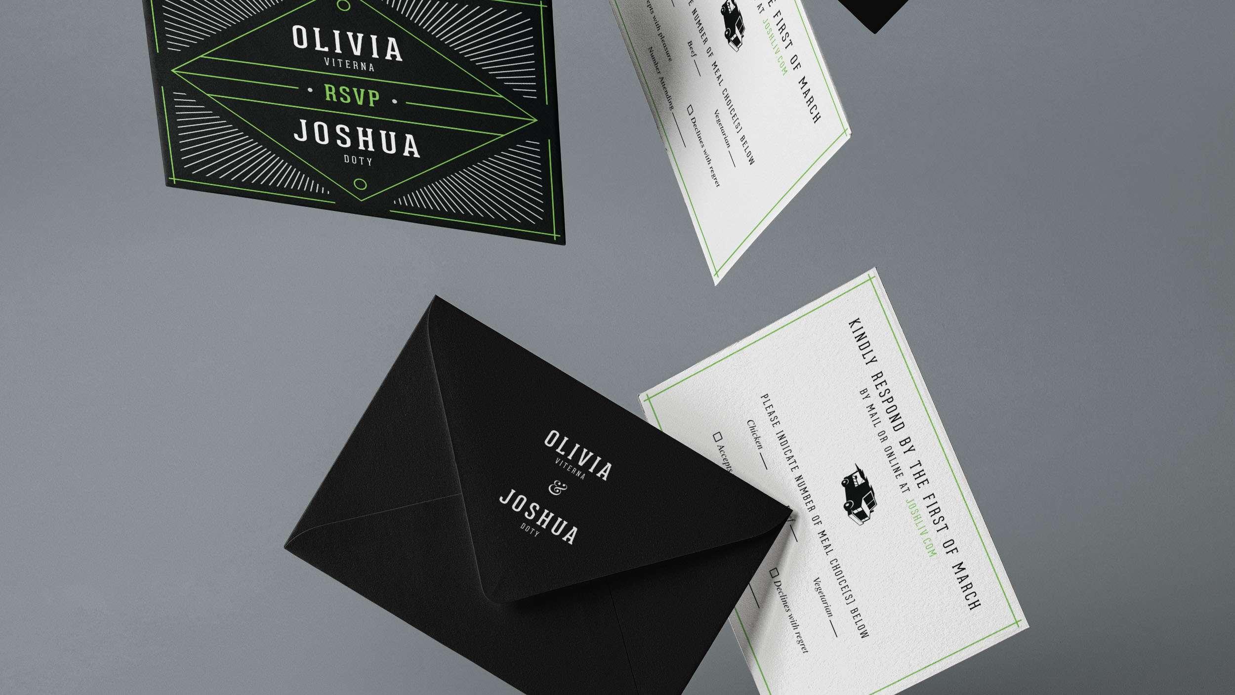 Wedding RSVP design with black envelope.