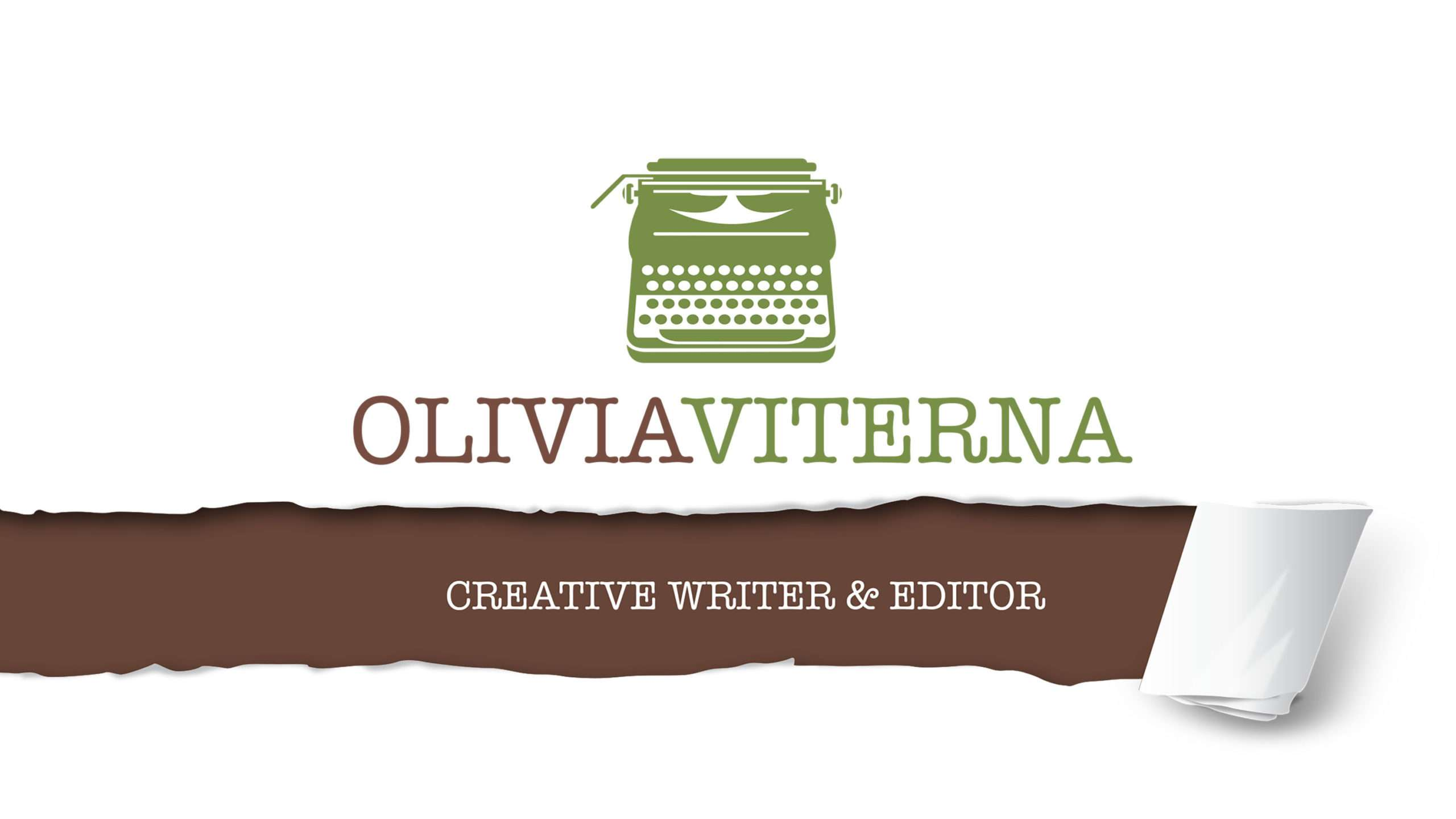 Green typewriter logo design with paper tear for a creative writer and editor.