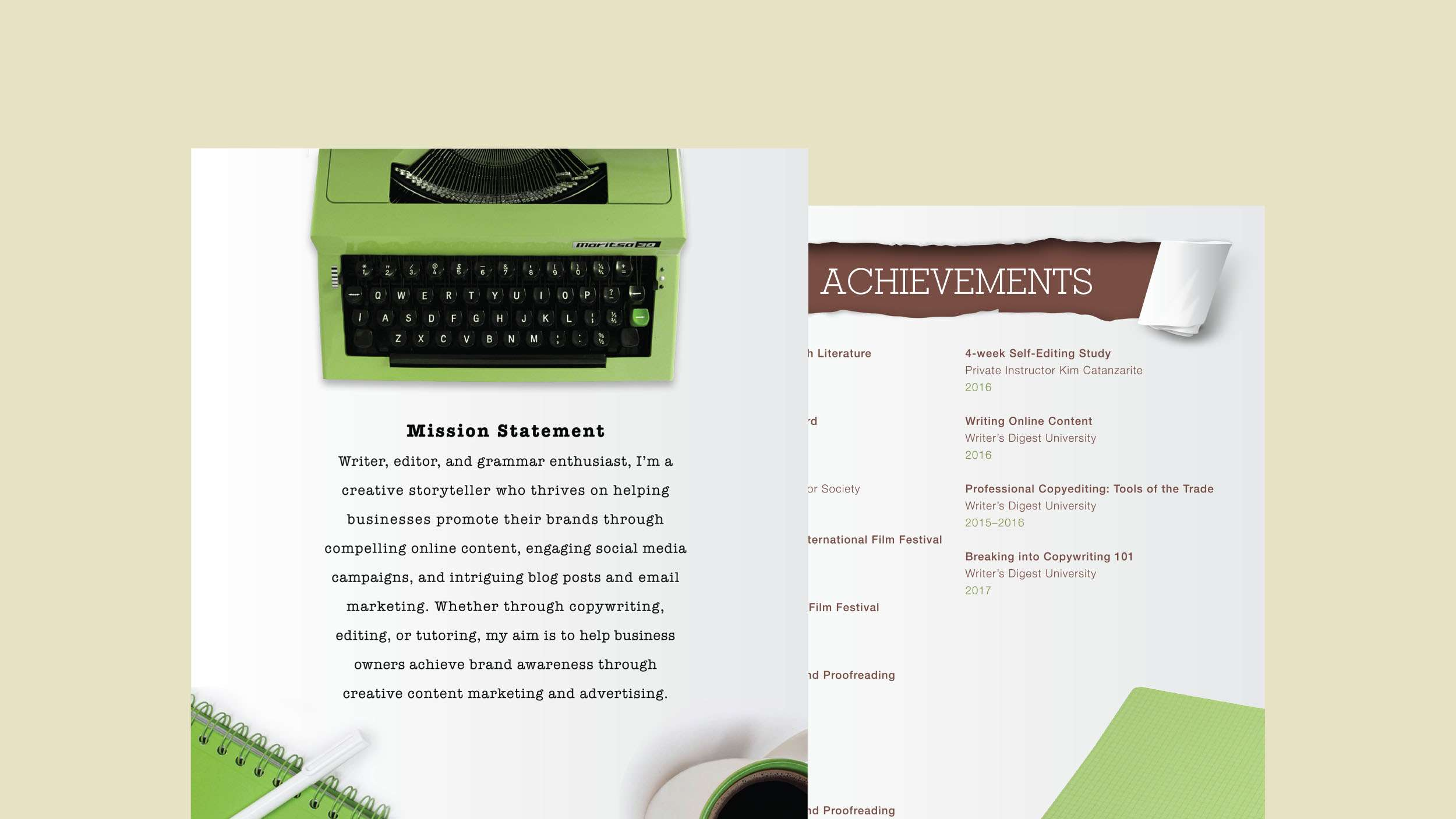 Custom resumé design for copywriter using typewriter, notepad, and coffee cup graphics.