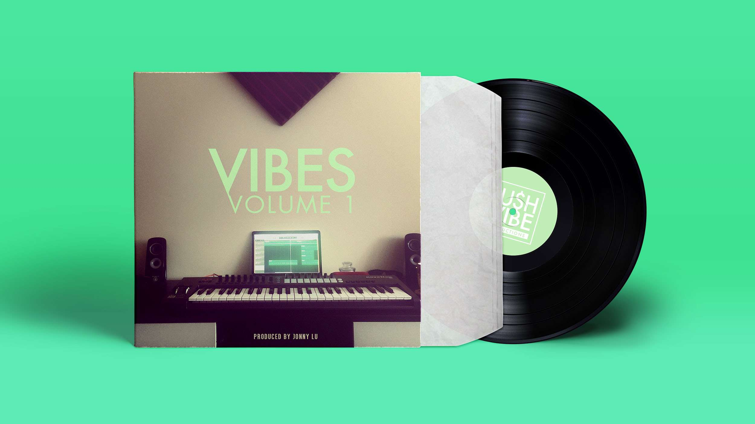 Vinyl packaging design using image of music studio, including a keyboard, speakers, laptop, and soundproofing.