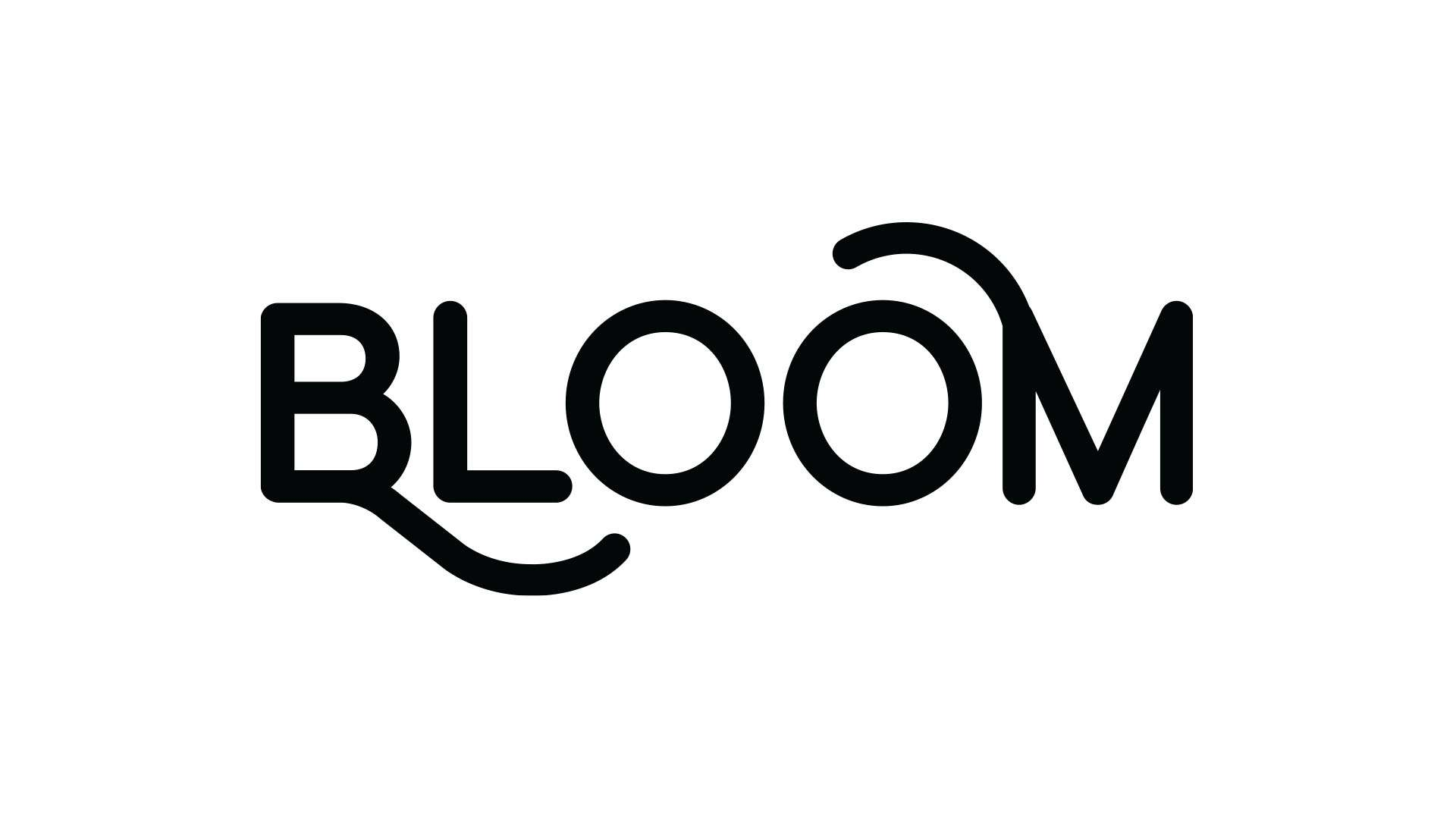 Logo design for Bloom, a meal replacement supplement using natural ingredients.