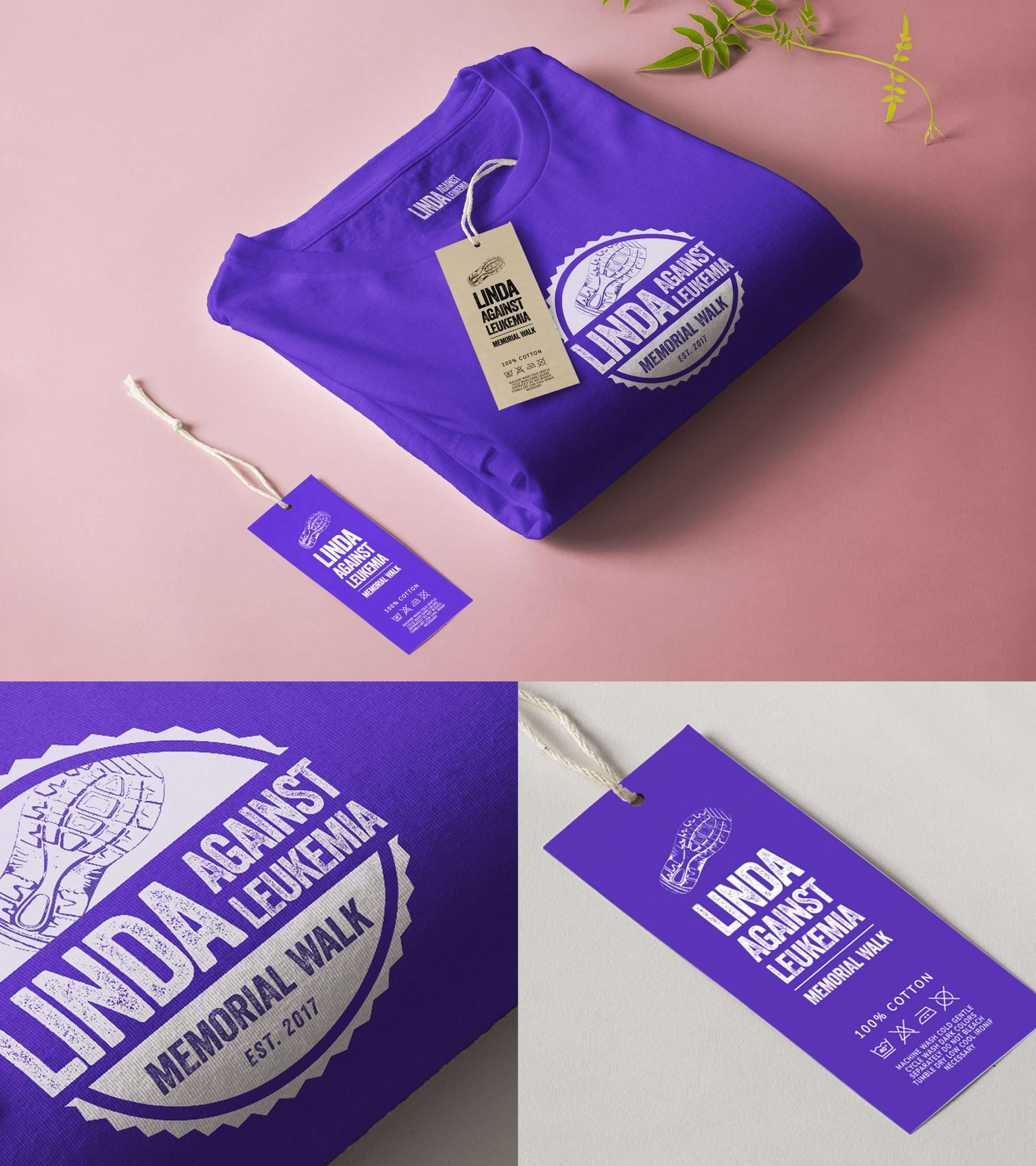 Purple screen-printed t-shirt mockup for a non-profit organization, including tag design.