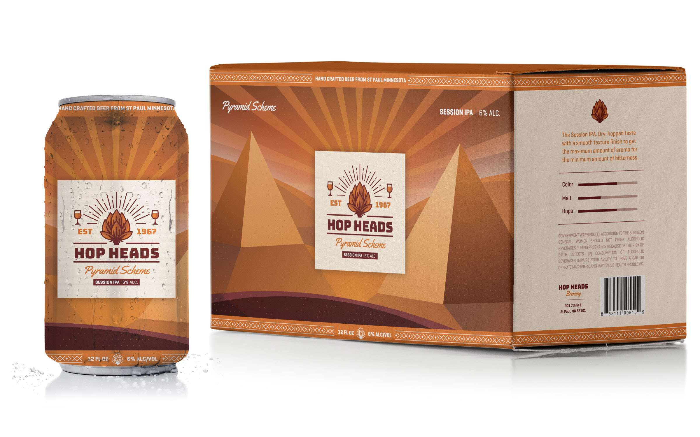 Creative packaging design for Hop Heads Brewing.