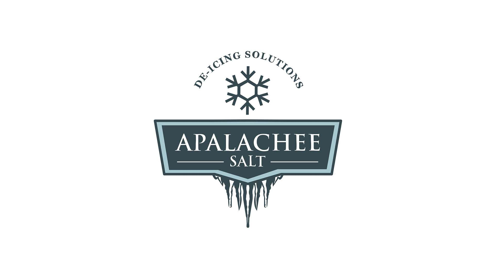 Melting ice logo design for Apalachee Salt using serif font and green colors.