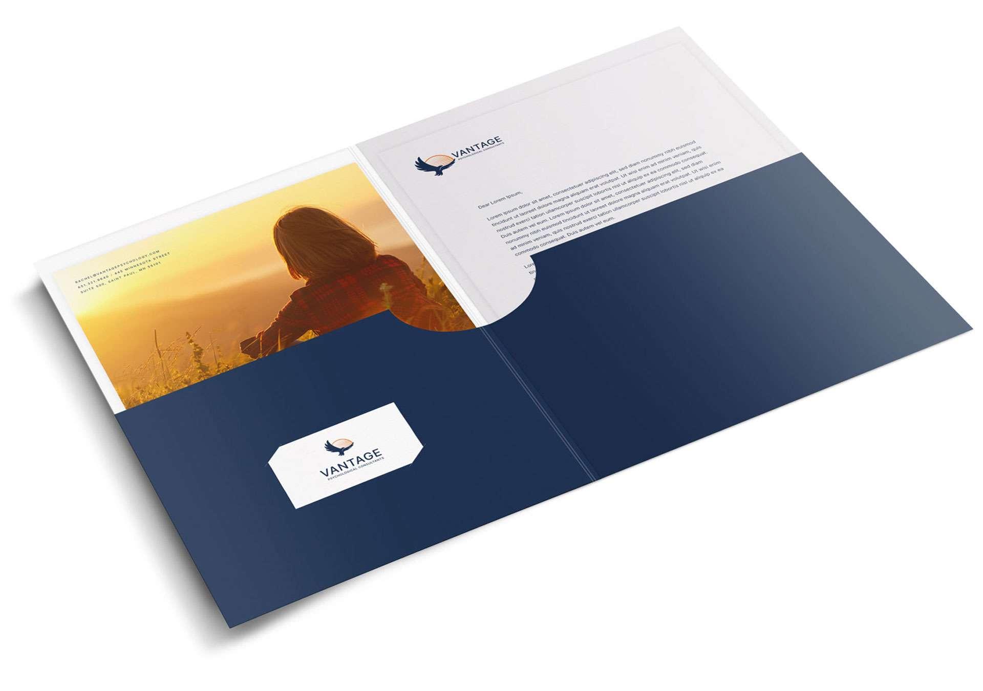 Branded folder, including letterhead and business card.